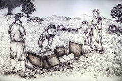 Disegno storico di ricostruzione della sepoltura romana Fotografia Stock Libera da Diritti