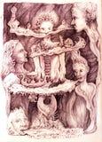 Disegno surrealista di un ragazzo in un paesaggio vago musicale Fotografia Stock Libera da Diritti