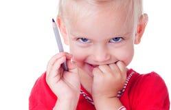 Disegno sveglio della bambina con le matite immagini stock