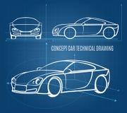 Disegno tecnico dell'automobile di concetto Fotografie Stock Libere da Diritti