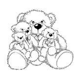 Disegno Teddy Bears con l'arco Fotografie Stock Libere da Diritti