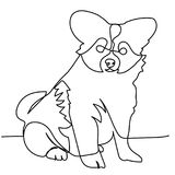 Disegno a tratteggio continuo del cucciolo Immagini Stock