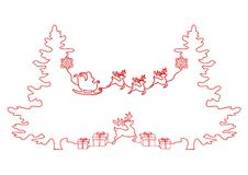 Disegno a tratteggio continuo dell'Natale festa, Santa Claus su una slitta, cervo, albero di Natale, fiocchi di neve, regali illustrazione vettoriale
