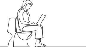 Disegno a tratteggio continuo della donna che si siede sul sedile di toilette illustrazione di stock