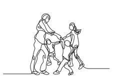 Disegno a tratteggio continuo di incoraggiare felice della famiglia illustrazione vettoriale