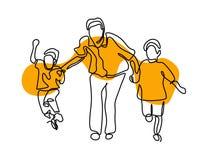 Disegno a tratteggio del padre uno con i suoi bambini su fondo bianco illustrazione di stock