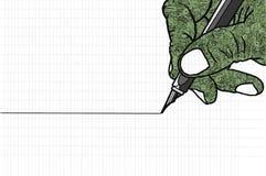 Disegno a tratteggio semplice della mano che tiene una penna Fotografia Stock