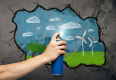 Disegno urbano del pittore Immagine Stock