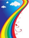 Disegno variopinto con le nubi ed i Rainbow Immagini Stock