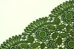Disegno verde del merletto Fotografie Stock