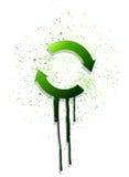 Disegno verde dell'illustrazione del ciclo della freccia dell'inchiostro Fotografia Stock Libera da Diritti