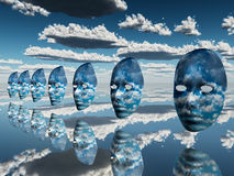 Disembodied faces hover in surreal scene stock photo
