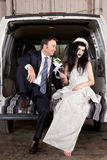 Disenchanted bride cheap wedding. Disenchanted bride with her cheap wedding Stock Image