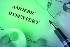 Disenteria amébico do diagnóstico escrito em uma página Fotos de Stock