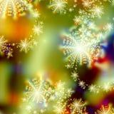 Diseño abstracto del modelo del fondo de luces del día de fiesta y estrellas o copos de nieve abstractos Foto de archivo