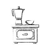 Diseño aislado de la caldera del café Foto de archivo