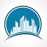Diseño azul abstracto del icono de las propiedades inmobiliarias Foto de archivo