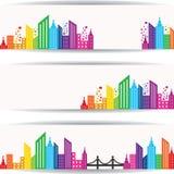 Diseño colorido abstracto de las propiedades inmobiliarias para la bandera del sitio web Imagenes de archivo