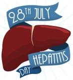 Diseño conmemorativo para el día de la hepatitis del mundo con el hígado y las cintas, ejemplo del vector Imagen de archivo libre de regalías