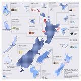 Diseño de Dot And Flag Map Of Nueva Zelanda Infographic Imagenes de archivo