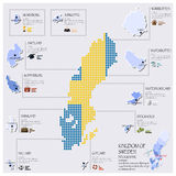 Diseño de Dot And Flag Map Of Suecia Infographic Fotos de archivo