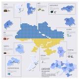 Diseño de Dot And Flag Map Of Ucrania Infographic Fotografía de archivo libre de regalías