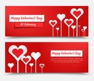 Diseño de la bandera para el día de tarjeta del día de San Valentín Foto de archivo