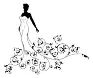 Diseño de la boda de la silueta de la novia Imagen de archivo libre de regalías
