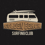 Diseño de la camiseta del club del vintage que practica surf Gráficos retros de la camiseta Fotos de archivo libres de regalías