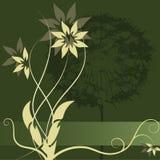 Diseño de la escritura de la etiqueta de la flor del vector Imagen de archivo libre de regalías
