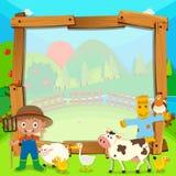 Diseño de la frontera con el granjero y los animales Foto de archivo