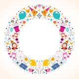 Diseño de la frontera del marco del círculo del feliz cumpleaños Foto de archivo