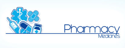 Diseño de la muestra de la farmacia Imagen de archivo libre de regalías