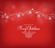 Diseño de la tarjeta de felicitaciones de la Feliz Navidad con las escamas de la nieve Imagen de archivo libre de regalías