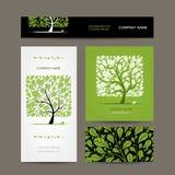 Diseño de las tarjetas de visita con el árbol de amor Imágenes de archivo libres de regalías
