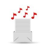 Diseño de papel de la nota de la música del correo electrónico Imagenes de archivo