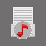 Diseño de papel de la nota de la música del correo electrónico Imágenes de archivo libres de regalías