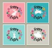 Diseño de Pascua con las tarjetas de felicitación banny lindas, invitaciones Fotografía de archivo