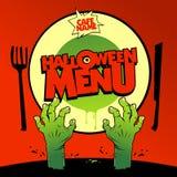 Diseño de tarjeta del menú de Halloween con el zombi Foto de archivo libre de regalías