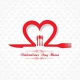 Diseño de tarjeta del menú del restaurante del día de San Valentín Imagen de archivo