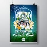 Diseño del aviador del partido de la playa del verano del vector con los elementos tipográficos y de la música en fondo abstracto Foto de archivo libre de regalías