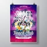 Diseño del aviador del partido de la playa del verano del vector con los elementos tipográficos y de la música en fondo del paisa Foto de archivo