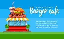 Diseño del aviador o de la bandera del café de los alimentos de preparación rápida con la hamburguesa Foto de archivo