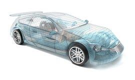 Diseño del coche, modelo del alambre Fotografía de archivo