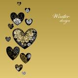 Diseño del corazón del amor del invierno con los copos de nieve de oro Tarjeta del amor Fotografía de archivo