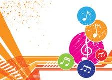 Diseño del fondo de las notas de la música Imagenes de archivo