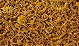 Diseño del fondo del oro de los engranajes Imagen de archivo libre de regalías