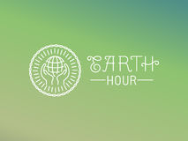 Diseño del logotipo de la hora de la tierra del vector en estilo linear Fotos de archivo libres de regalías