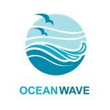 Diseño del logotipo del océano Fotos de archivo
