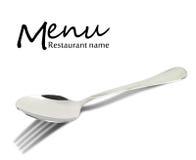 Diseño del menú del restaurante. Cuchara con la sombra de la bifurcación Foto de archivo